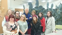 Kaffe Fassett meets a group of second year knit students at the University of Huddersfield.