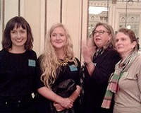 Ruth Greany, Kirsty McDougall, Philippa Brock and Emma Sewell at the Making it in Textiles Conference and Mill Visits*